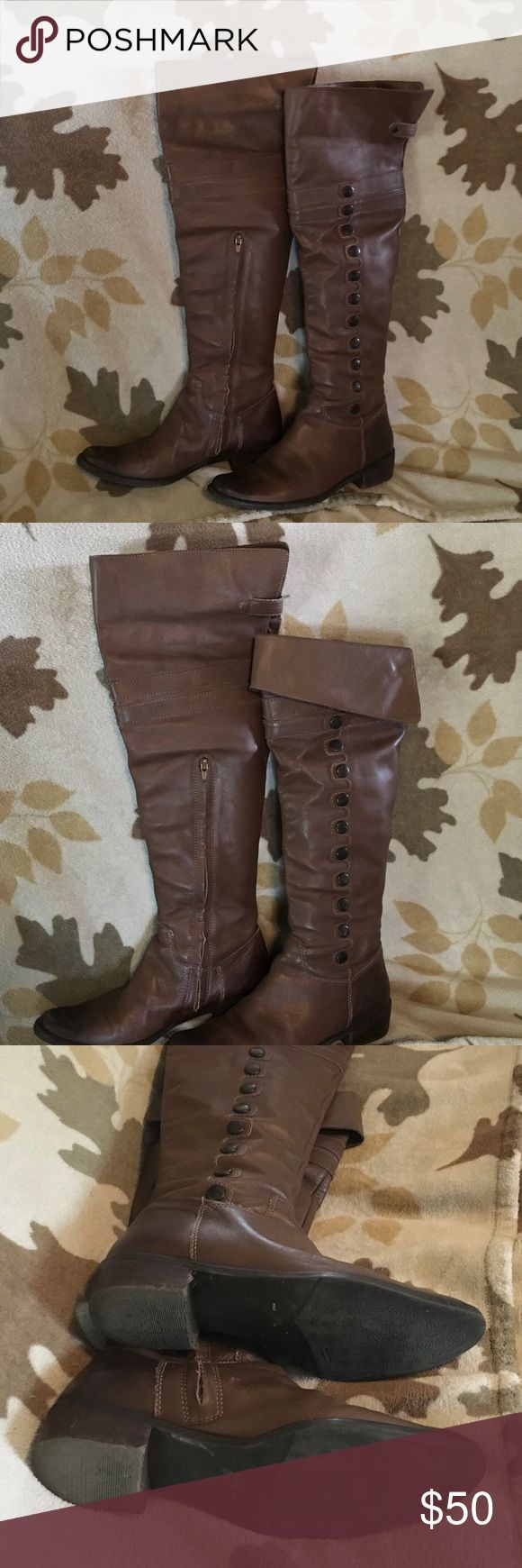 """Burnished Genuine Leather Over the Knee Boots Really cute genuine leather boots. Over the knee but can be folded down as seen in picture. On the larger side of a size 8. I'm usually a 7 or 7 1/2. Thought these would work for me with thick socks, but they were still too big. Buttons on the side make them unique along with the burnishing on the foot. Shaft height 21 1/2"""" unfolded. Shoes Over the Knee Boots"""