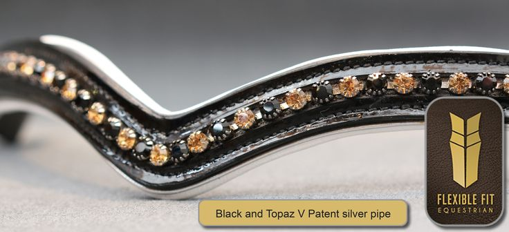 Black & Topaz Patent V White Padding with Silver Pipe English Leather Flexi-Fit Gel Padded Browband - Black