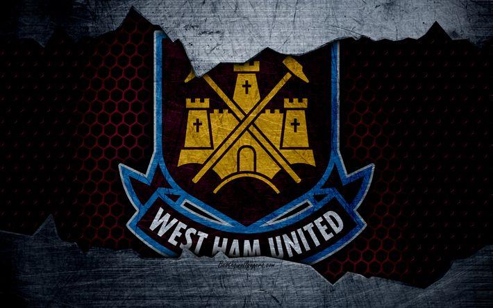 Download wallpapers West Ham United FC, 4k, football, Premier League, England, emblem, logo, football club, London, UK, metal texture, grunge