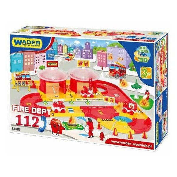 Zestaw Wader 53310 - Oddział Straży Pożarnej Serii Kid Cars 3D - Oddział Straży pożarnej dla Dzieci od lat 3, zawiera: podwójny parking, 3,1 m drogi oraz 3 pojazdy