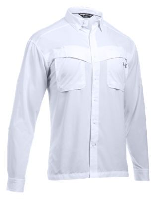 Under Armour Tide Chaser Long-Sleeve Fishing Shirt for Men - White/Steel - 2XL