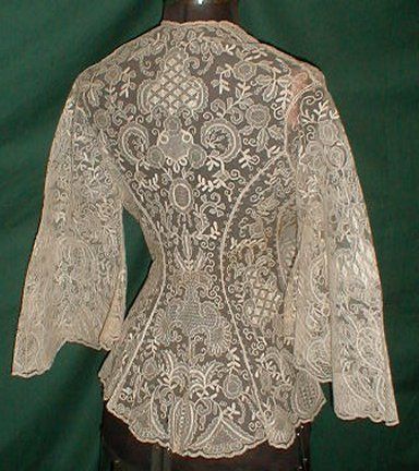 1860 boudoir jacket back -- imagine the bodice in a nice, sturdy stretch fabric with lace sleeves.