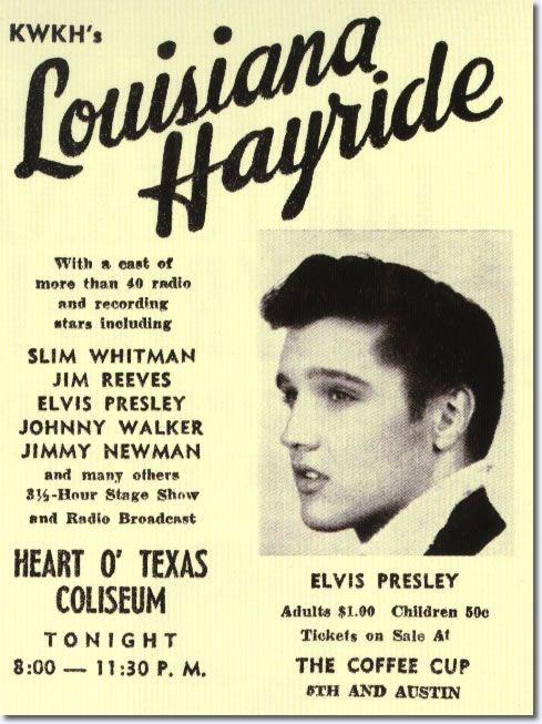 Print Ad for Elvis Presley's Louisiana Hayride Performance April 23, 1955