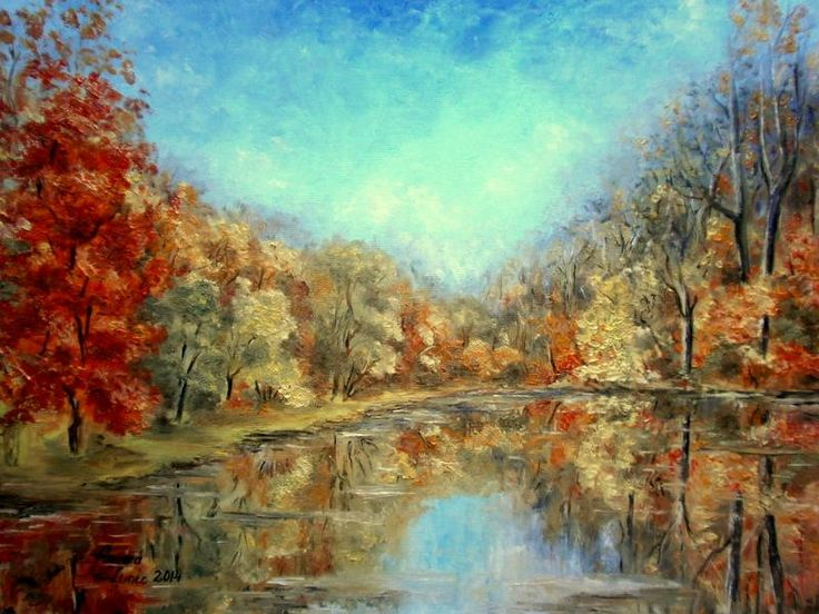 """Octombrie"" pictura ulei/panza, 45cm/35cm"