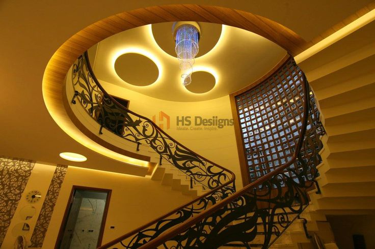 Grand traditional staircase with interesting false ceiling ...