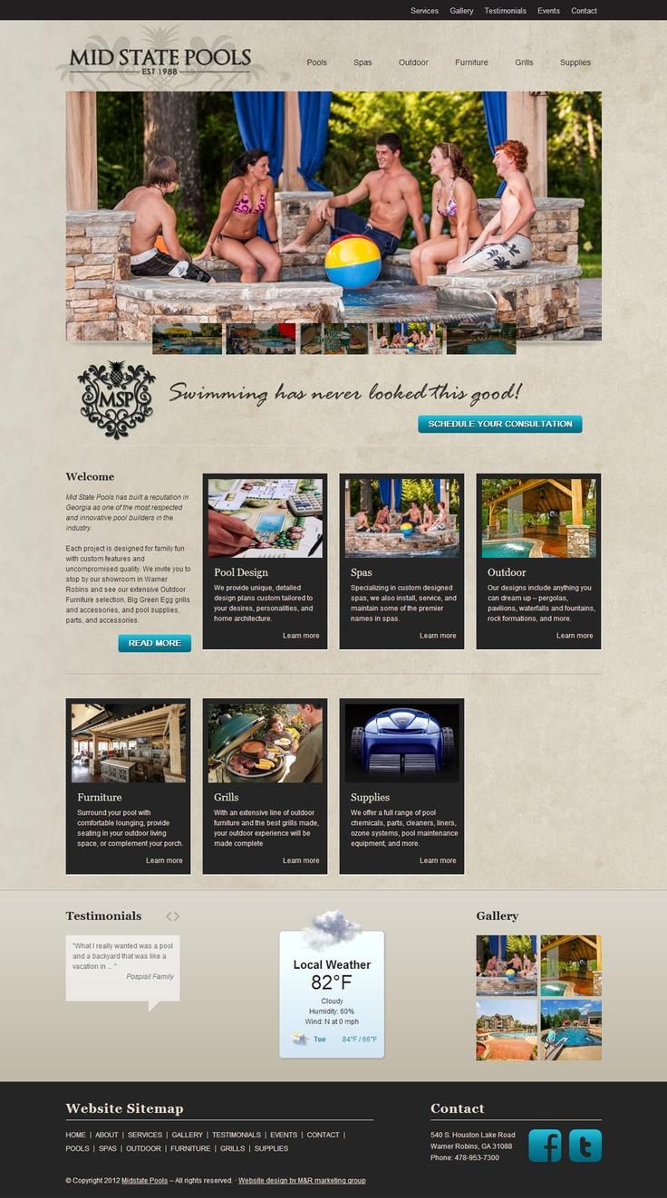Mid State Pools Website Design. Website Design. Graphic Design. Marketing.