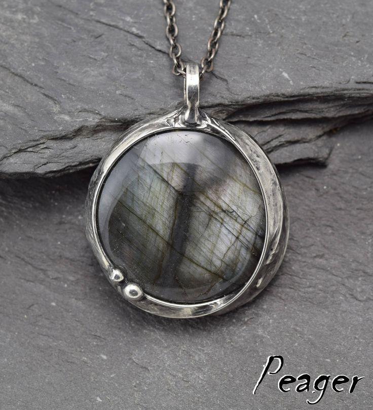 Labradorite Pendant,Double sided necklace,Men pendant,Unisex necklace,Metalwork handmade jewelry,Valentine's Day,ooak women pendant by PeagerFantasyWorld on Etsy