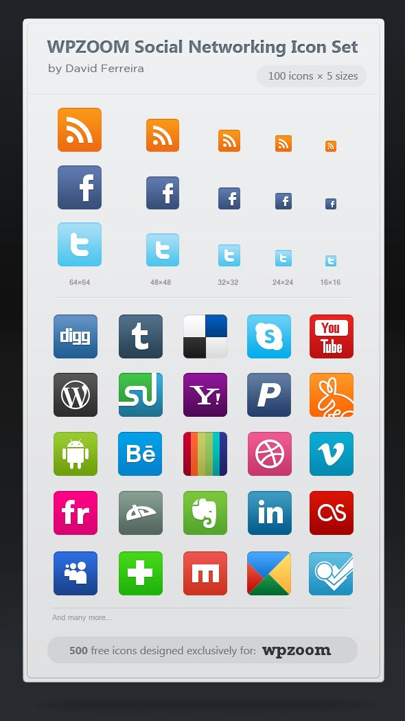 500 Free Icons: WPZOOM Social Networking Icon Set, also in PNG