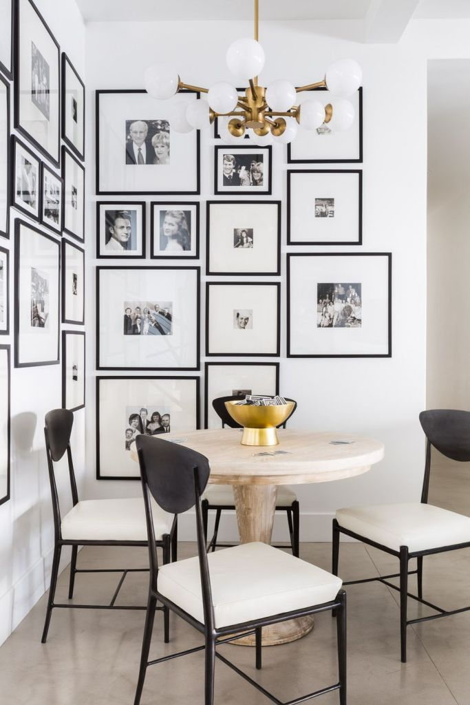 Gallery Wall Ideas To Inspire Classic Black And White Photography Dining Room Wall Decor White Interior Design Dining Room Walls