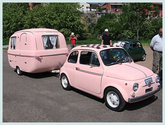 Fiat 500 and Camper, In Pink! + this post has a great collection of vintage Fiats - this is such a cute set-up!