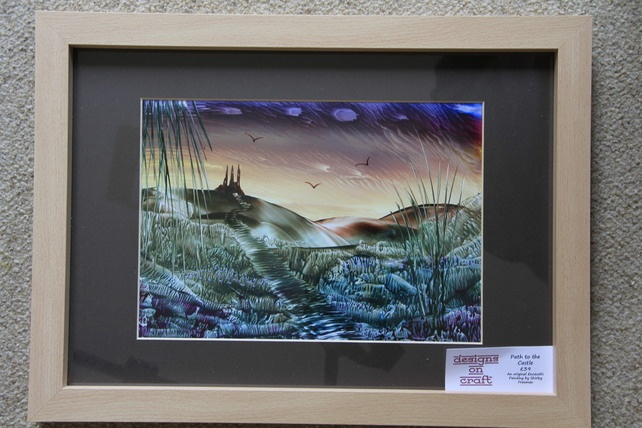 Path to the Castle - Original, Framed Encaustic Art Painting £39.00