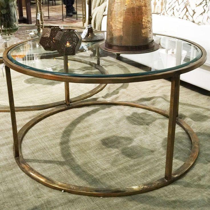 THG Soffbord Corsica runt stort soffbord glas mässing THG Art Deco stil 4990kr