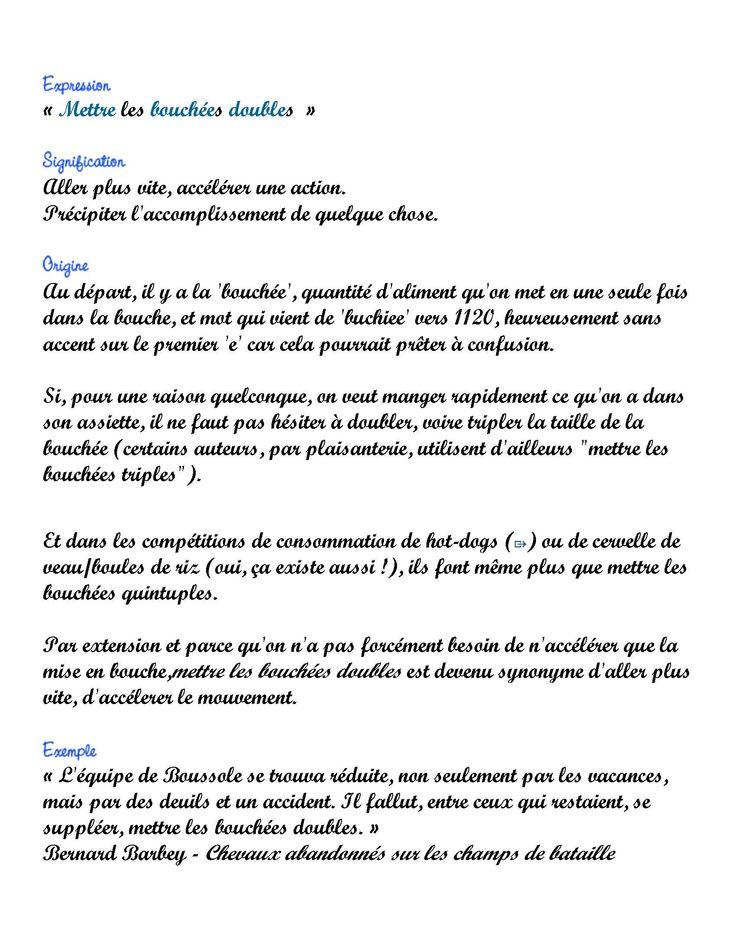 Expression du Jour: Mettre les bouchées doubles (2 pages) - Frawsy www.frawsy.com
