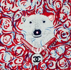 chanel polarbear scarf - ohh the perks of a fashion week invite.  you get CHANEL ANIMALS.