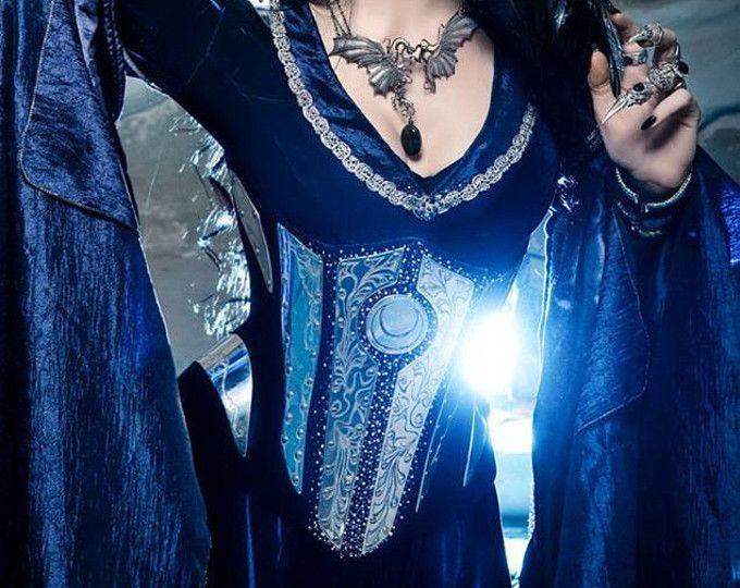 Azul medianoche elfos traje de elfo Vestido de corsé hecho por encargo