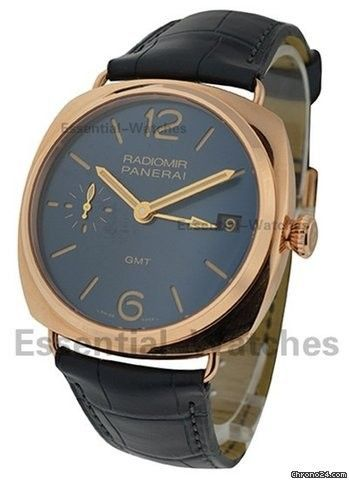 Panerai Radiomir 3 Days GMT Oro Rosso PAM 598 - Rose Gold on Strap with Blue Dial