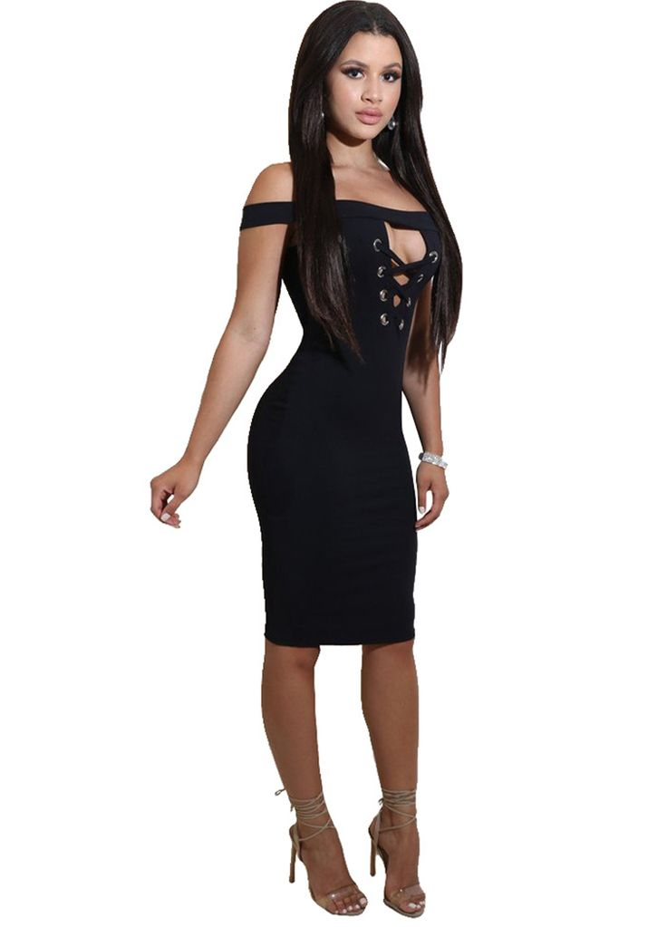 Lace-up Front Off The Shoulder Midi Dress_Midi Dress_Dresses_Sexy Lingeire | Cheap Plus Size Lingerie At Wholesale Price | Feelovely.com