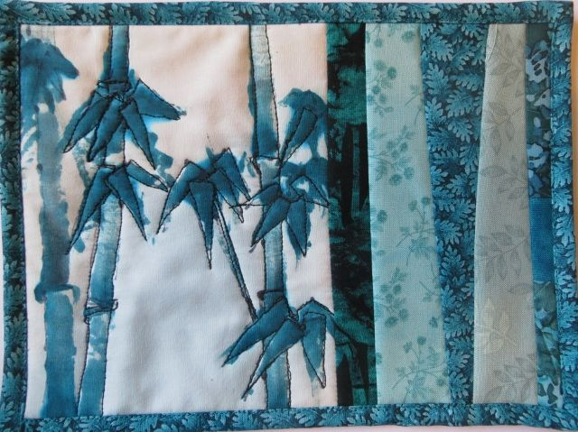 Creating bamboo on fabric after an oriental painting course.