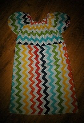 Girl's Boutique Size 8 Multi Colored Rainbow Chevron Dress LOLLY WOLLY DOODLE