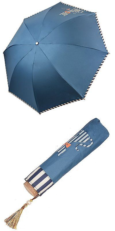 Umbrellas 90634: Kung Fu Smith Women Candy Striped Print Cat Heart Sun Parasol Rain Umbrella Dark -> BUY IT NOW ONLY: $34.05 on eBay!