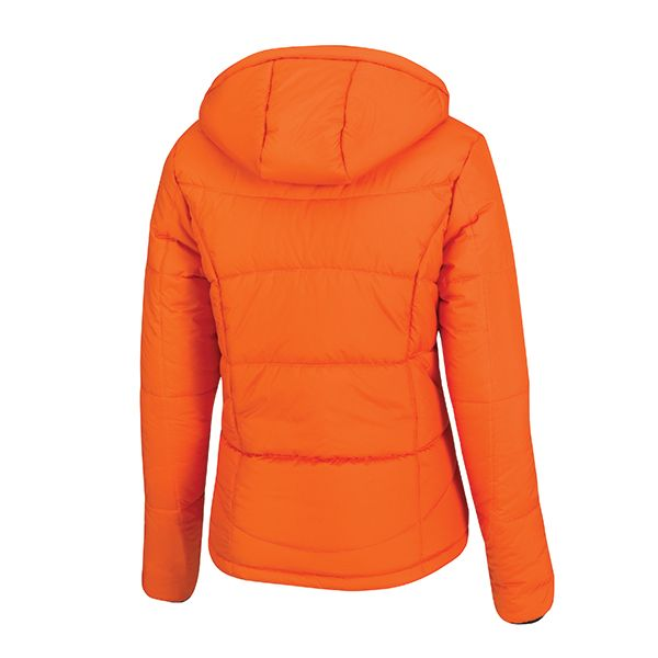 XD Soft sustainable all-round women's winter jacket made of 100% recycled polyester with a 170-gram polyester insulation, including jacket pouch and detachable hood, down free. Standard exchangeable zipper puller in black.