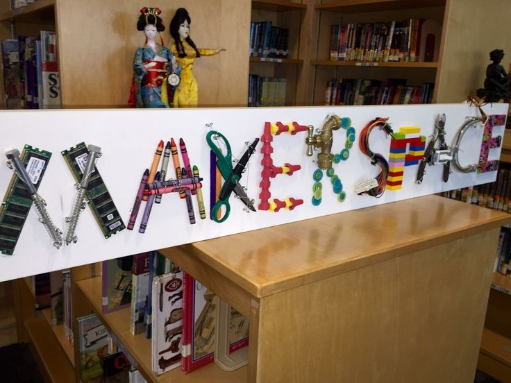 Makerspace sign using all household found materials.