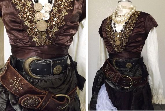 Women's Pirate Costume - Including Jewelry, A Blouse, Skirts, Vest  Belts - Medium Gypsy / Victorian