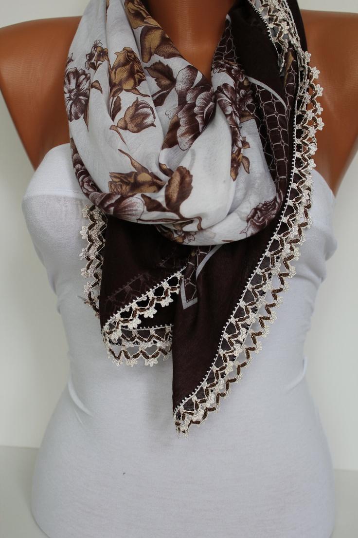 Anatolian Yemeni Shawl Scarf - Oya - Yemeni - Cowl Headband Necklace - Floral-Brown and White - Crochet edge- New. $23.00, via Etsy.