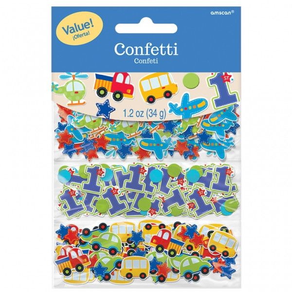 This value pack of confetti lets you celebrate with your favorite modes of transportation for an All Aboard birthday. The confetti comes in multicolored light blue, red, orange, and green stars, circl