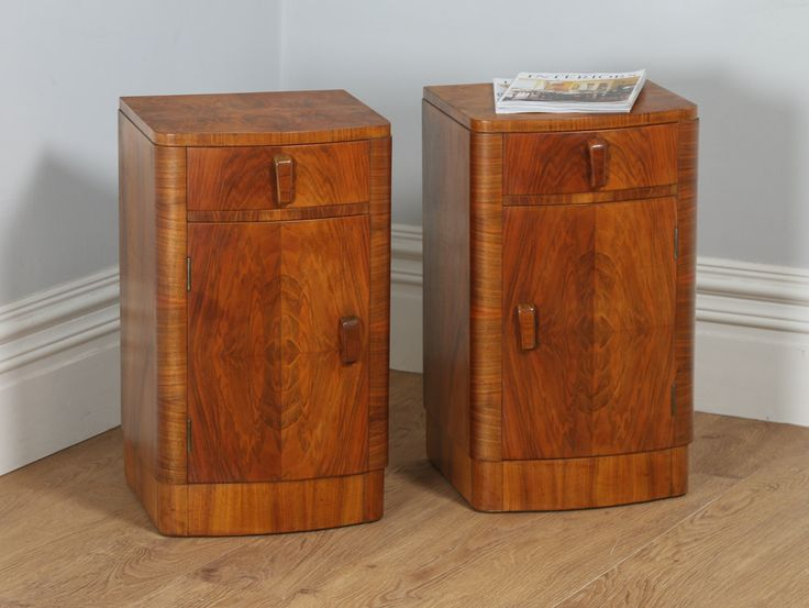 Antique Pair of Art Deco Figured Walnut Bedside Cabinets (Circa 1930) by YolaGrayAntiques on Etsy
