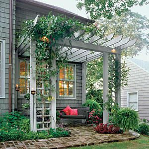 Lush Patio Pergola - Cool and Shady Pergola Ideas - Southernliving. Four 6 by 6 posts across the front of this patio arbor give the structure a substantial feel. Two lattice panels, which support Armand clematis vines (Clematis armandii), provide a sense of enclosure.