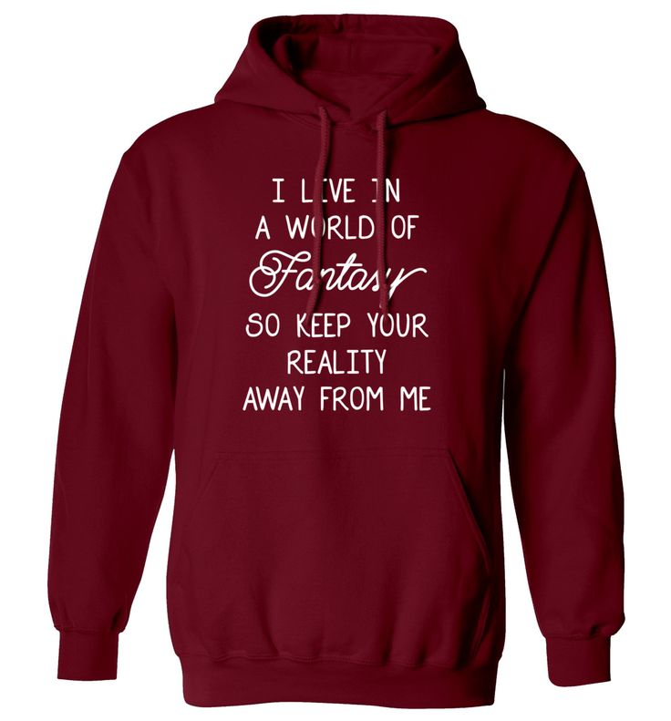 New to FloxCreative on Etsy: I live in a world of fantasy so keep your reality away from me hoody funny joke gift quote mermaid unicorn black maroon hoodie XS - 5XL 59 (22.95 GBP)