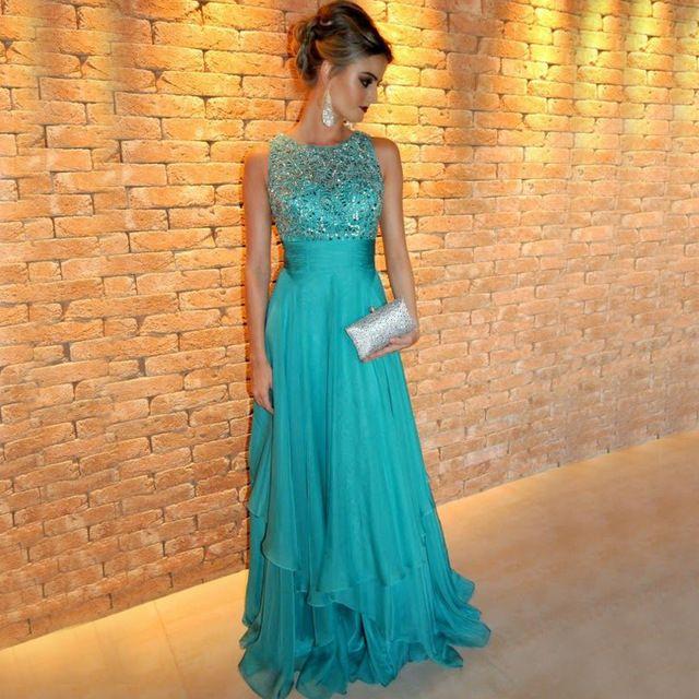 Elegante O Cuello de La Gasa de Largo Prom Vestidos de Noche 2017 Vestido Bordado Con Cuentas de Lujo de la Turquesa Vestido de Noche Vestido De Fiesta