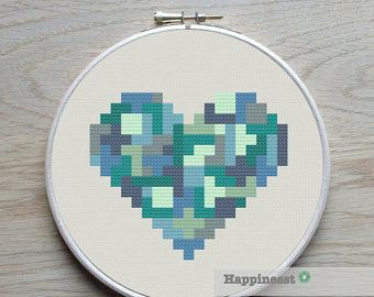 geometric modern cross stitch pattern heart valentine heart