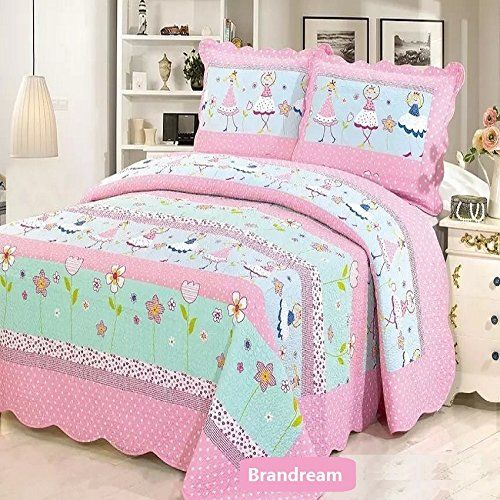 Brandream Pink Polka Dot Floral Bedding Set Cute Girls Bed Quilt Set Queen Size //Price: $90.50 & FREE Shipping //     #bedding