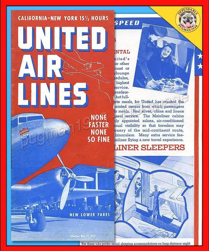 UNITED AIRLINES 1937 AIRLINE TIMETABLE SCHEDULE...Detailed DC-3 Cutaway in Collectibles, Transportation, Aviation, Airlines, Delta   eBay