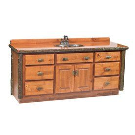 Fireside Lodge Furniture Hickory Rustic Alder Hickory Bathroom Vanity with Wood Top (Common: 60-in x 22-in; Actual: 65-in x 23.5-in)
