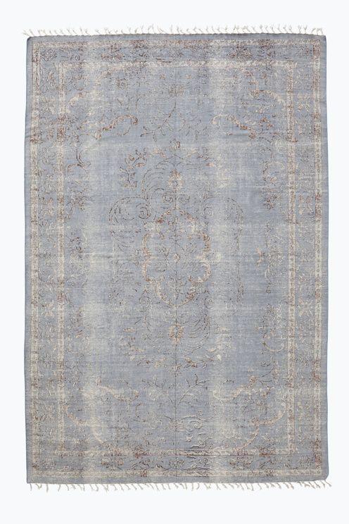 Bomullsmatta i snygg vintagelook med handtryckt m�nster och glesa fransar. Stl…