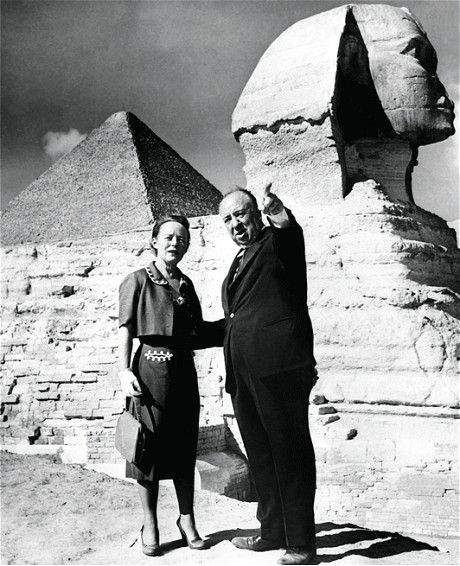 Alfred Hitchcock an his wife Alma reville on location for The Man Who Knew Too Much (1955) (REX FEATURES)