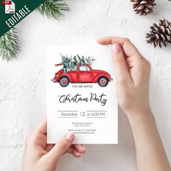 Elegant Editable Christmas Party Invitation Template Editable