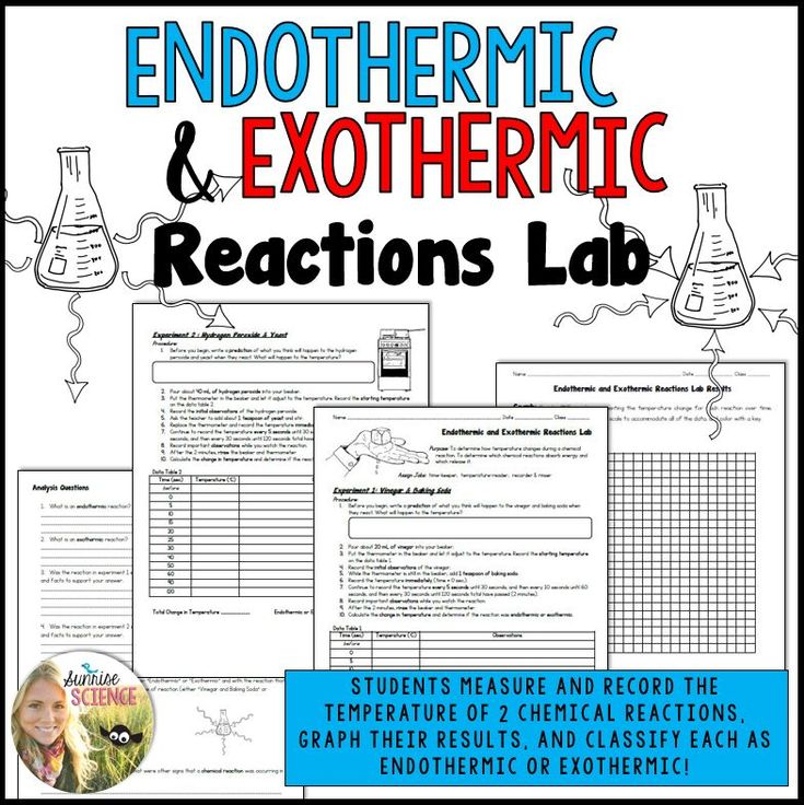 For this Endothermic and Exothermic Reactions Lab, students will perform two chemical reactions and measure their temperatures. The first reaction is that of vinegar and baking soda and the second is with hydrogen peroxide and yeast. These are simple and