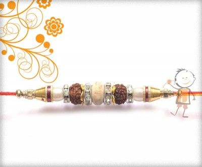 buy online rakhi - #Designer #Sandalwood #Diamond #Rakhi, Exclusive American Diamond with Sandalwood Beads Brown Thread Rakhi, surprise your loved ones with roli chawal, chocolates and a greeting card as it  is also a part of our package and that too without any extra charges.  http://www.bablarakhi.com/