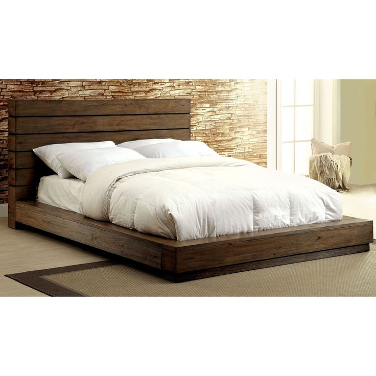 furniture of america emallson rustic natural tone low profile bed queen brown - Low Profile Bed Frame