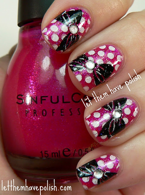 Polka Dots & Bows: Nails Art, Polka Dots, Best Friends, Bows Nails, Pretty Nails, Minnie Mouse, Mani Asked, Disney Nails, 3D Nails