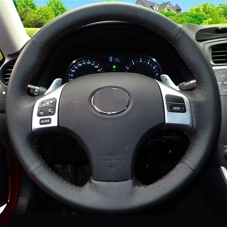 Dijahit tangan Penutup Roda Kemudi Kulit Hitam untuk Lexus is250 Mobil Khusus