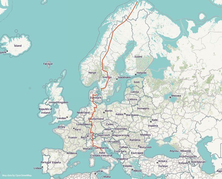 Der Europäische Fernwanderweg E1 führt auf ca. 7000 km Länge durch sieben europäische Staaten. Er beginnt am Nordkap in Norwegen und führt über Finnland, Schweden, Dänemark, Deutschland und der Schweiz bis nach Mittelitalien.