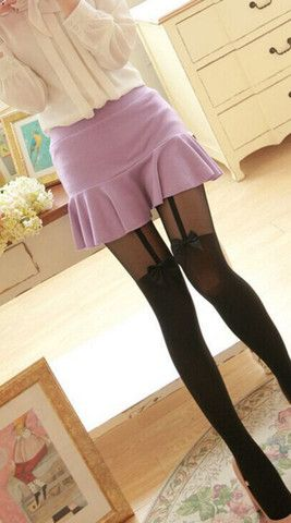 Suspender Pantyhose with Cute Bow - xome - 1