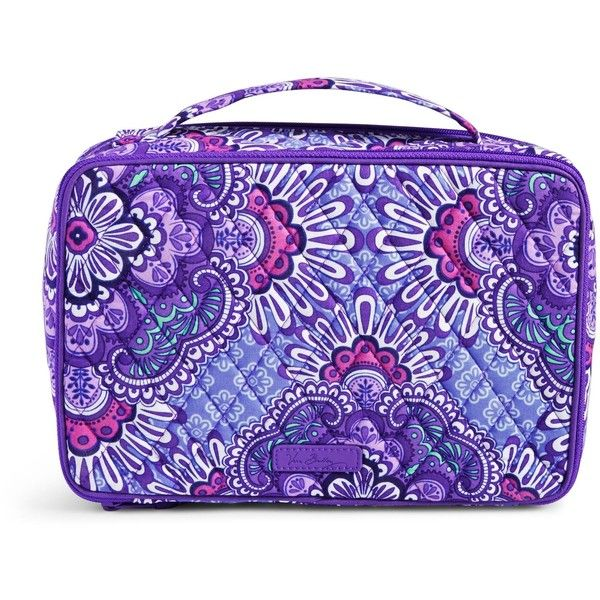 Vera Bradley Large Blush & Brush Makeup Case in Lilac Tapestry ($52) ❤ liked on Polyvore featuring beauty products, beauty accessories, bags & cases, lilac tapestry, cosmetic bags, vera bradley makeup bag, purse makeup bag, makeup bag case and toiletry kits