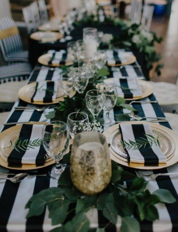 Cotton striped wedding tablecloth, table runner, navy blue and white nautical, black and white, various colors avail, beach, baby shower, pr