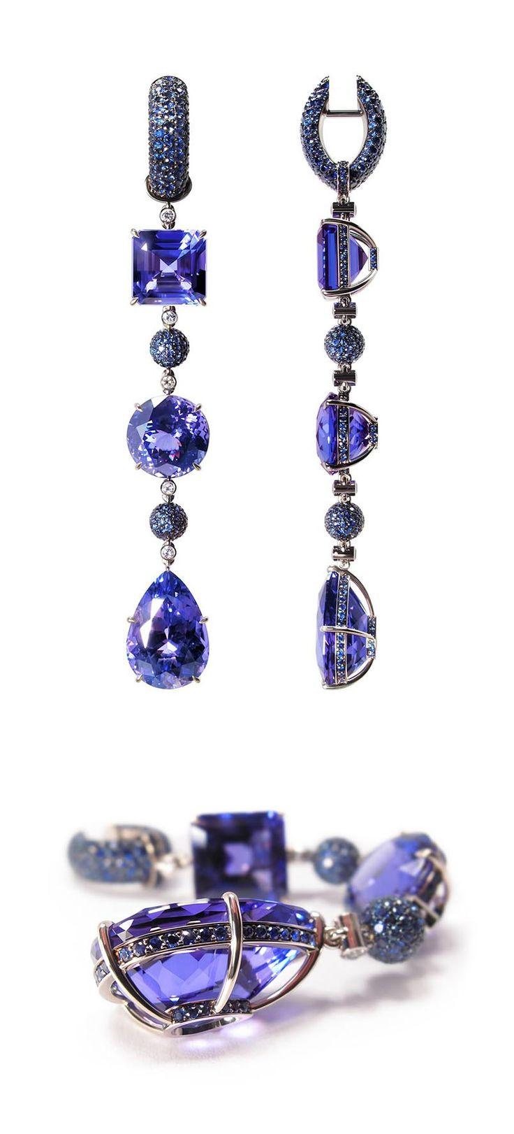 "VLAD GLYNIN jewellery - vladglynin.com - Earrings ""Sequence"", 2011. White gold, tanzanites, sapphires, diamonds. / Серьги «Последовательность», 2011 г. Белое золото, танзаниты, сапфиры, бриллианты. / Orecchini «Sequenza», 2011. Oro bianco, tanzaniti, zaffiri, diamanti."